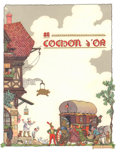 Au Cochon D'Or, Paris 1950s Menu art