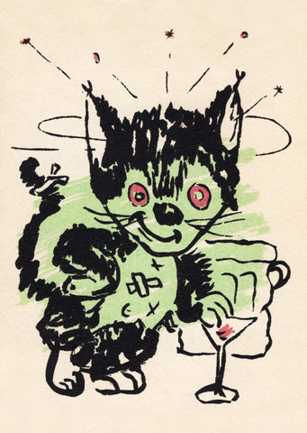 The Black Cat Bar, San Francisco 1950s Vintage Menu Art