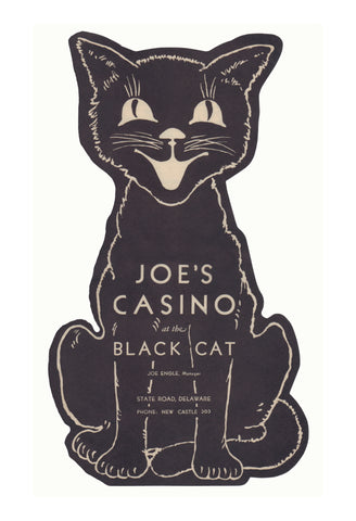 Joe's Casino at The Black Cat, New Castle, Delaware 1930s Menu Art