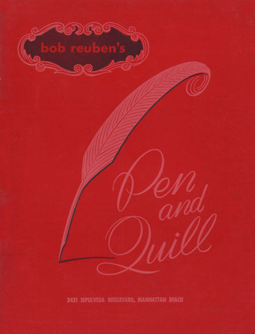 Bob Reuben's Pen and Quill, Manhattan Beach 1960s Menu Art