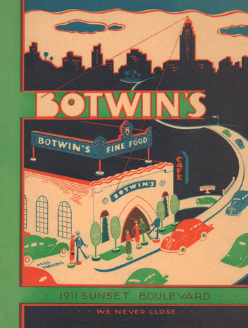 Botwin's, Los Angeles 1930s Menu Art