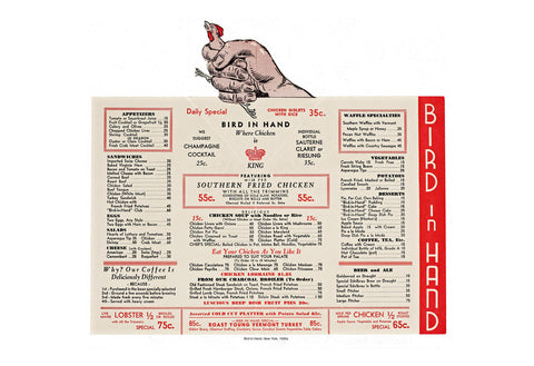 Bird In Hand, New York 1930s Vintage Menu