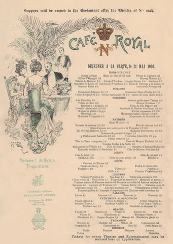 Café Royal, London 1903 Menu Art
