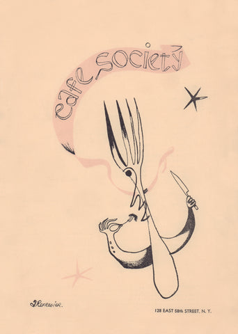 Cafe Society, New York 1943 Menu Art by Anton Refregier