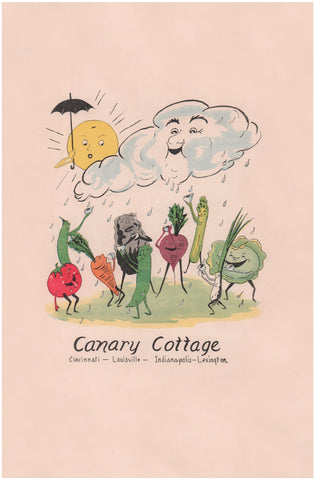 Canary Cottage, Lexington KY 1938 Menu Art