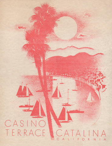 Casino Terrace, Catalina, California 1948 Menu Art