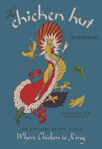Chicken Hut, Washington D.C. 1940s Menu Art