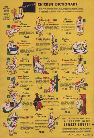 Chicken Dictionary Chicken Hut, Washington D.C. 1940s Menu Art