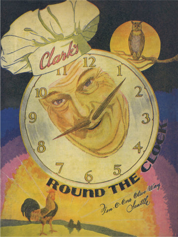 Clark's Round The Clock, Seattle 1950s Menu Art