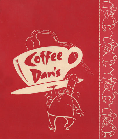 Coffee Dan's, Los Angeles 1961 Menu Art