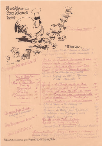 Hostellerie du Coq Hardi, Bougival France 1930s Menu Art