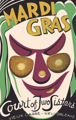 Court of Two Sisters Mardi Gras, New Orleans 1950 Menu Art