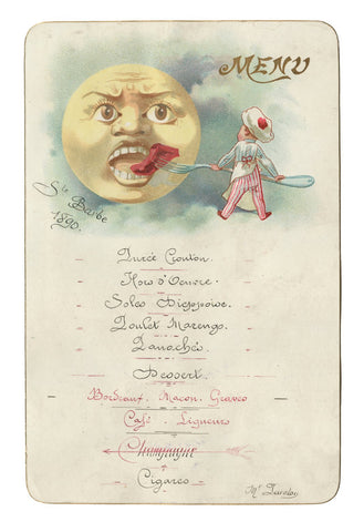 Café Anglais, Paris, 1890 Menu Art