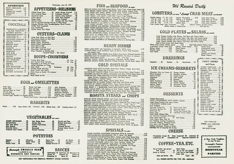 Cavanagh's, New York, 1954 Menu
