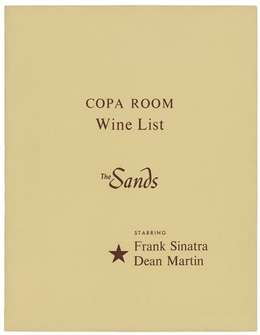 opa Room Wine List Cover, The Sands Hotel, Las Vegas Frank Sinatra & Dean Martin, 1960s