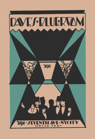 Dave's Blue Room, New York 1930s Menu Art