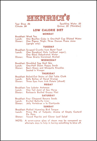 Henrici's Restaurant Unusual Diet, Chicago circa 1930s