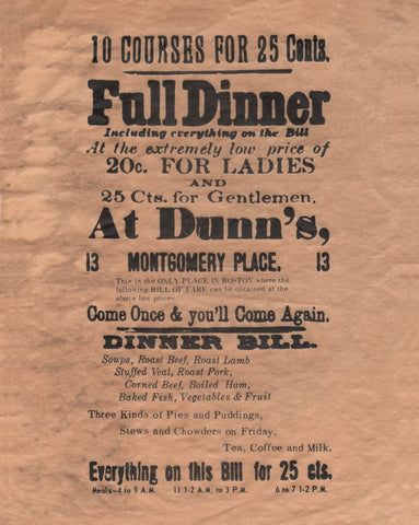 Dunn's Dinner, Boston 1890s