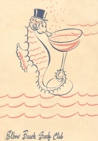 Elbow Beach Surf Club Bermuda 1940s Menu Art
