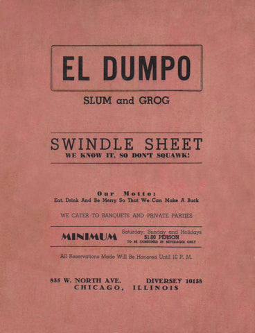 El Dumpo, Chicago 1940s Menu Art Humor