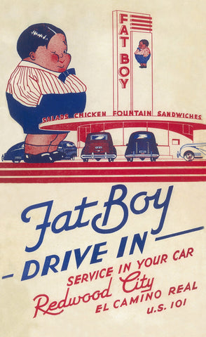 Fat Boy Drive-In, Redwood City, California 1940s Menu Art