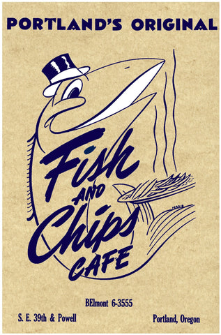 Fish and Chips Cafe. Portland 1950s