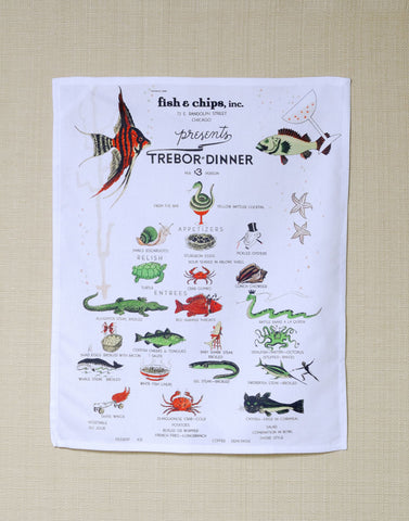 Fish & Chips Inc Chicago Trebor Dinner 1940s Kitchen Towel