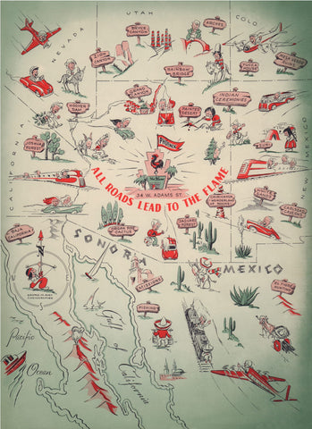 The Flame, Phoenix 1955 Menu Art