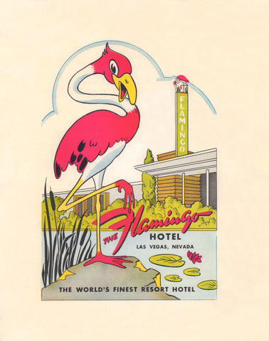 The Flamingo. Las Vegas 1970s Menu Art