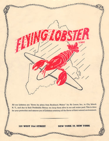 The Flying Lobster, New York 1940s Menu Art