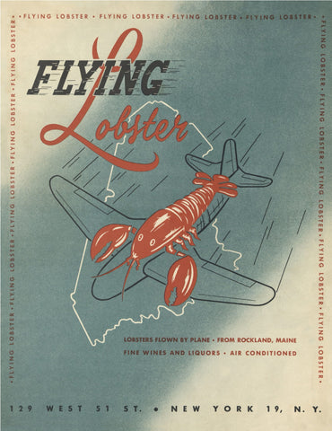 The Flying Lobster, New York 1950s Menu Art