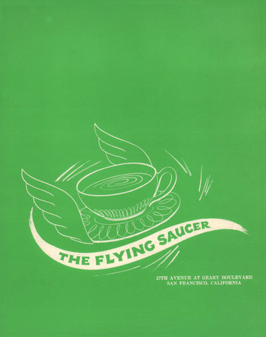 The Flying Saucer, San Fracicsco 1960s Menu Art