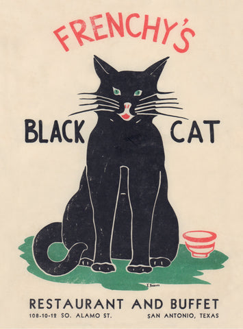 Frenchy's Black Cat, San Antonio Texas 1940s/1950s Menu Art