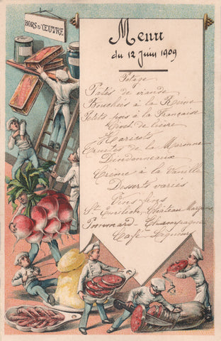 French Menu Hors D'Oeuvre 1909