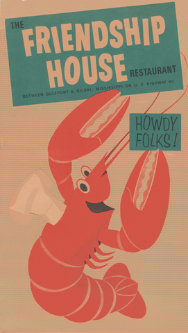 Friendship House, Biloxi 1960s Menu Art