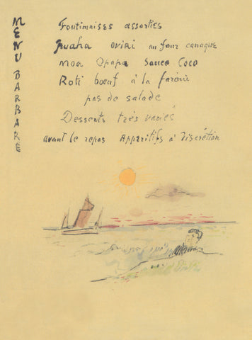 Paul Gaugain Menu Barbare Tahiti 1900