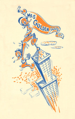 MC's Golden Goose Cafe, Smith Tower, Seattle 1940s Menu Art