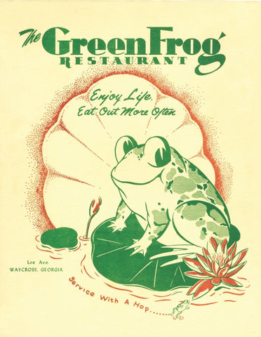 The Green Frog, Waycross, Georgia, 1955 Menu Art