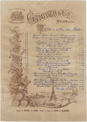 Gruber, Paris 1889 Menu Art