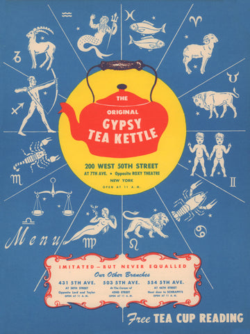 Gypsy Tea Kettle, New York 1949 Horoscope Menu Art