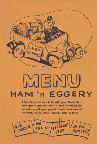 Ham 'n Eggery, Pittsburgh 1946 Menu Art