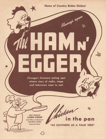 Ham n' Egger, Chicago 1950s Menu Art