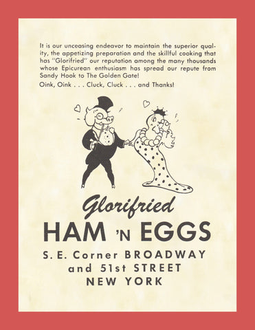 Glorifried Ham 'n Eggs, New York 1950s menu art