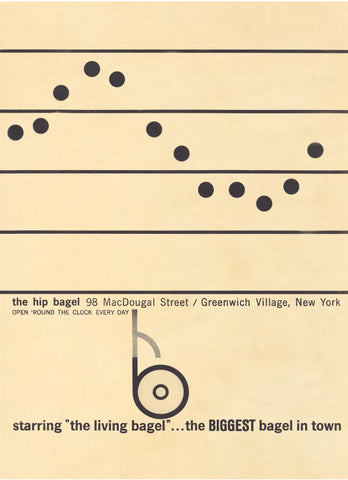 The Hip Bagel, New York 1960s Menu Art