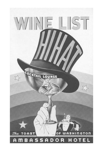 Hi Hat Cocktail Lounge, Ambassador Hotel, Washington D.C. 1930s Menu Art