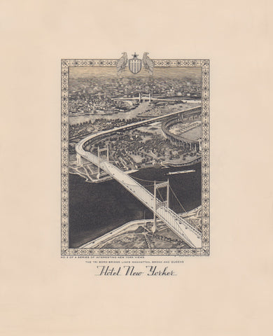 Hotel New Yorker, Tri Boro Bridge, New York 1941 Menu Art
