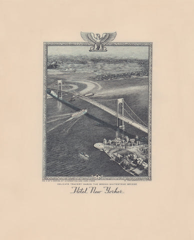 Hotel New Yorker, Bronx Whitestone Bridge, New York 1941 Menu Art