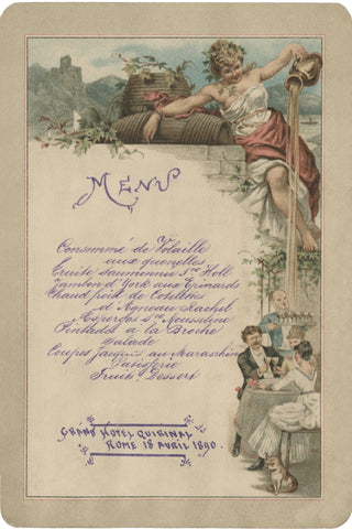 Hotel Quirinal, Rome 1890 Menu Art