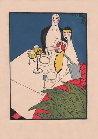Hotel Statler, Detroit 1928 Menu Art