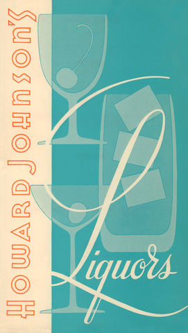 Howard Johnson's Liquors (Portrait) USA 1960s Menu Art